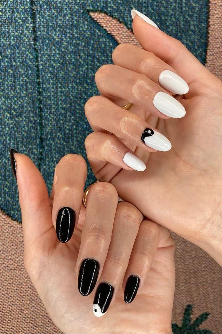 Yin Yang black and white almond nails