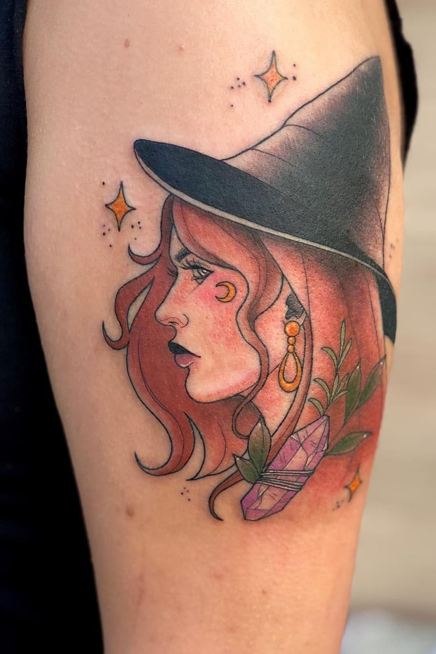 Beautiful witch tattoo