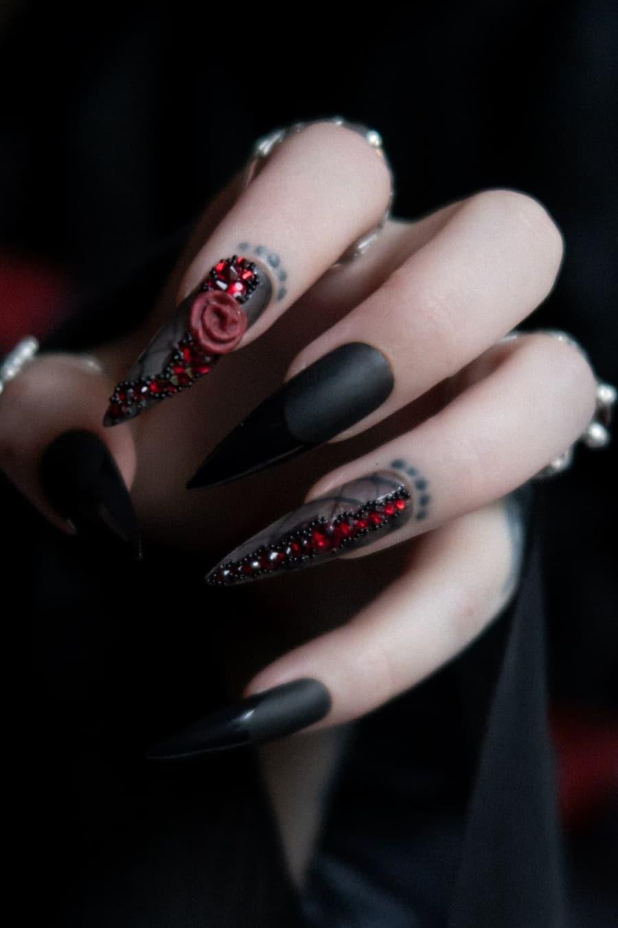 Black long Halloween nails