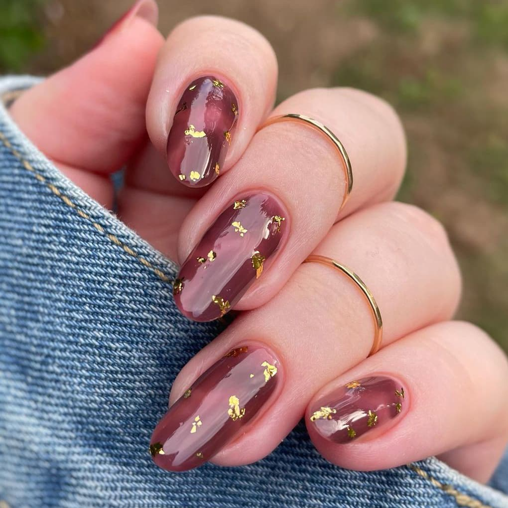 Brown jelly nails