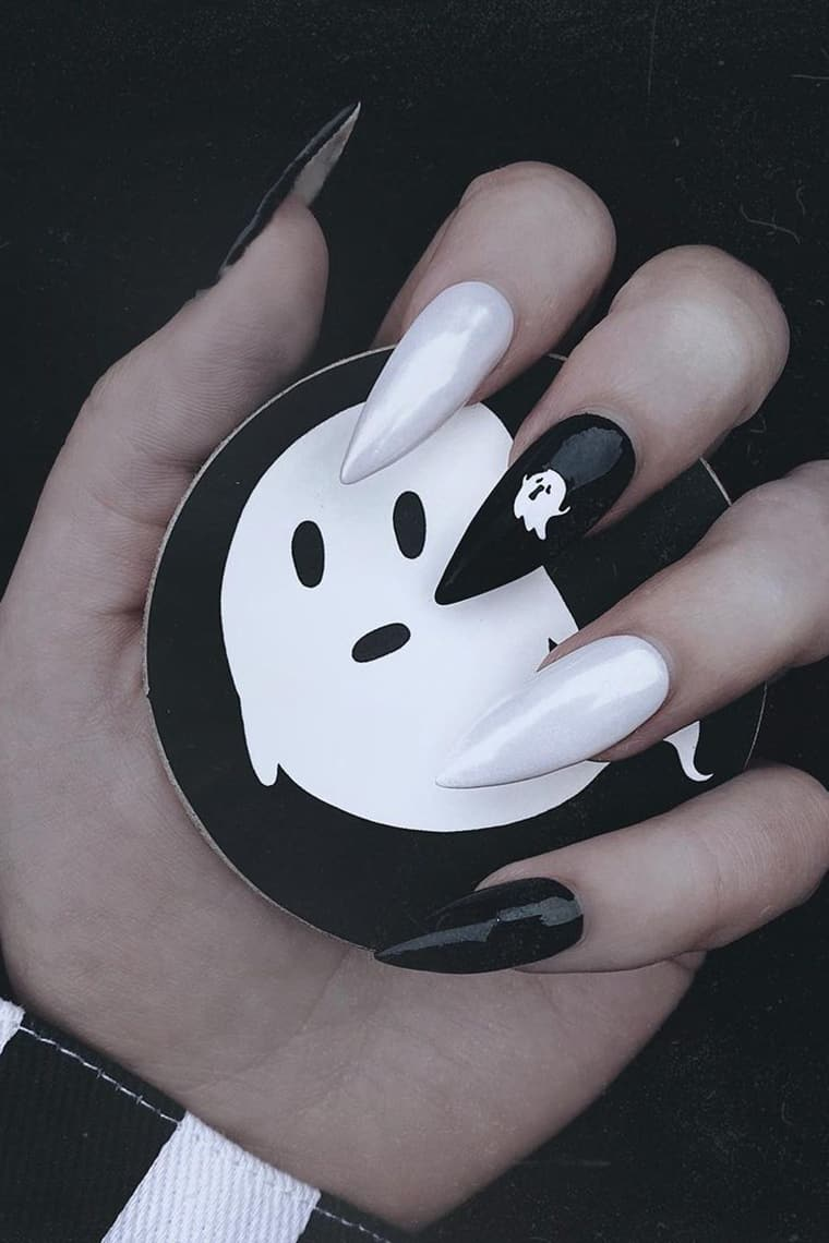 Cute ghostly long halloween nails
