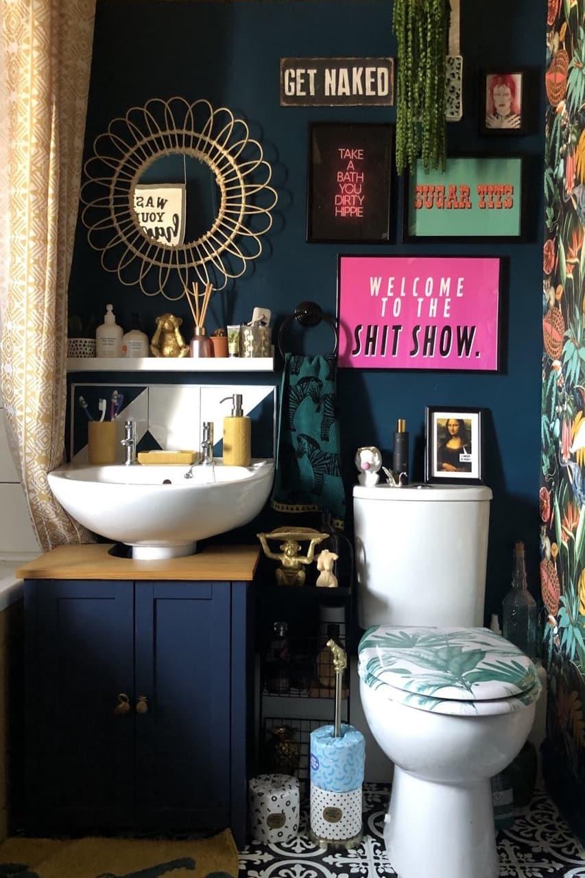 Dark blue small bathroom