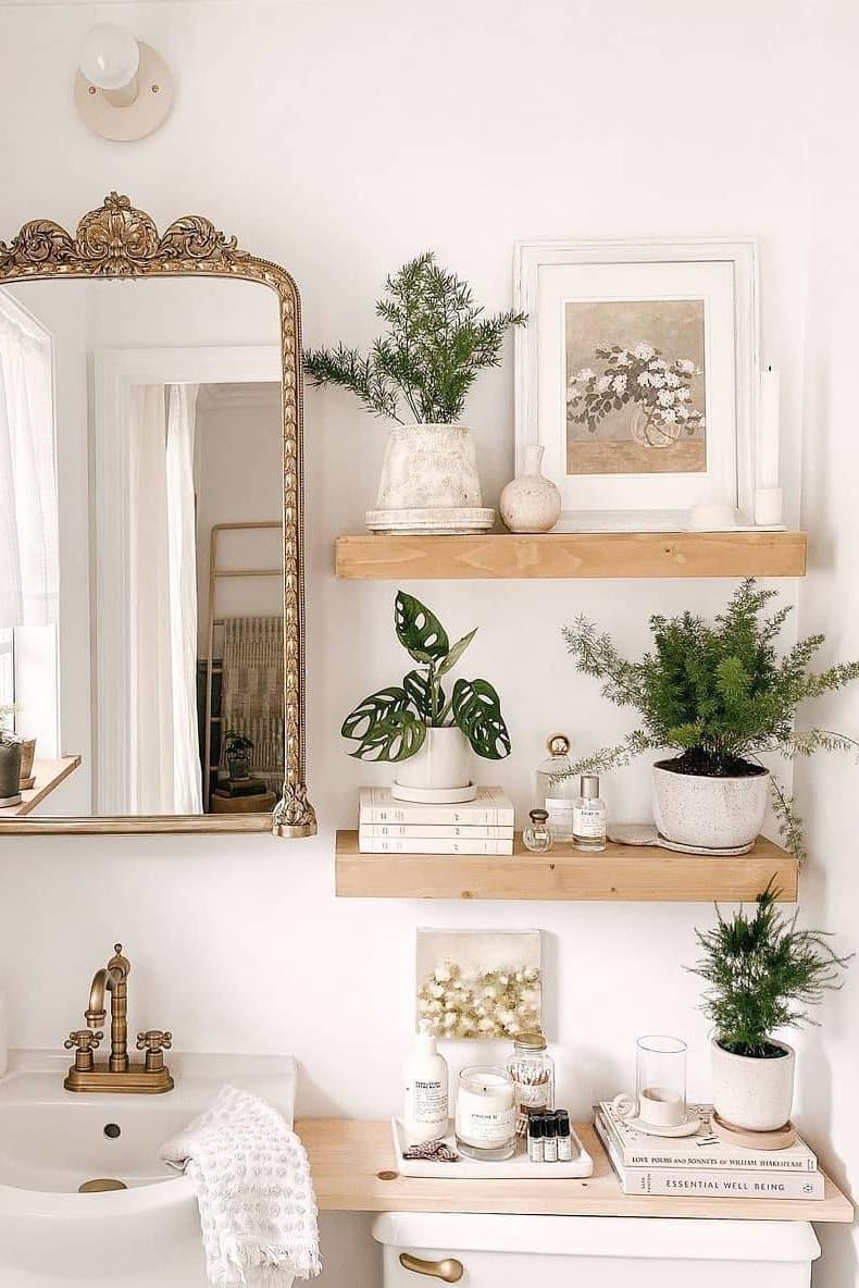 Floating shelf for small bathroom