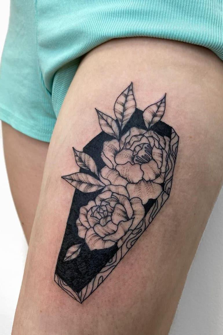 Flower Coffin Tattoo