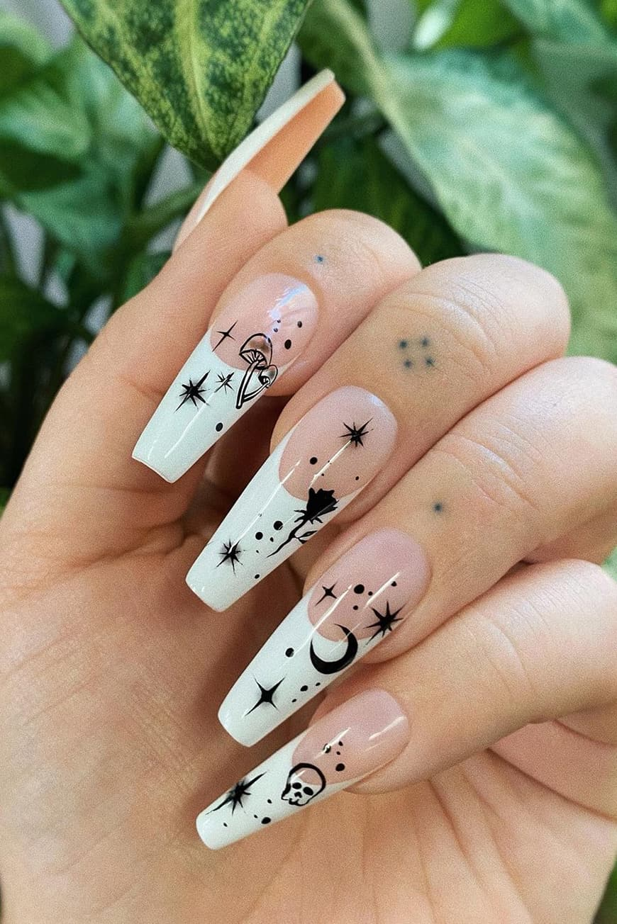 French Halloween long nails