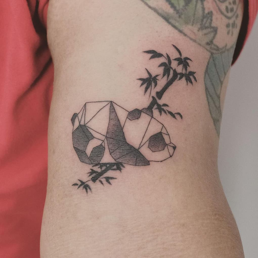 Geometric panda tattoo