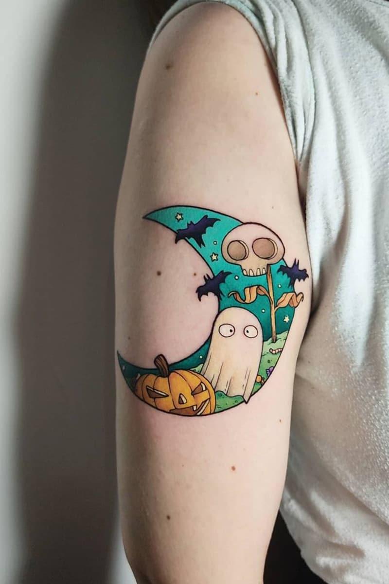 Halloween moon tattoo