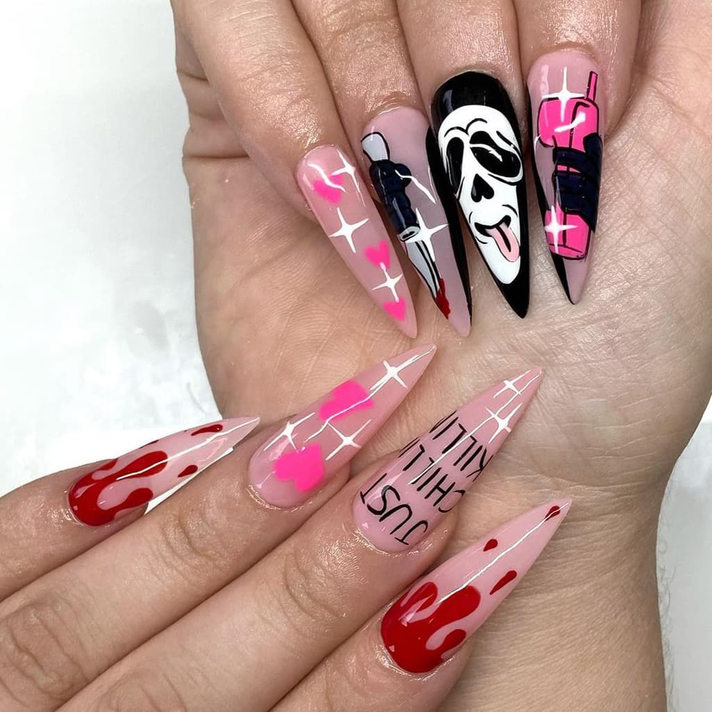 Long Halloween nails with pink