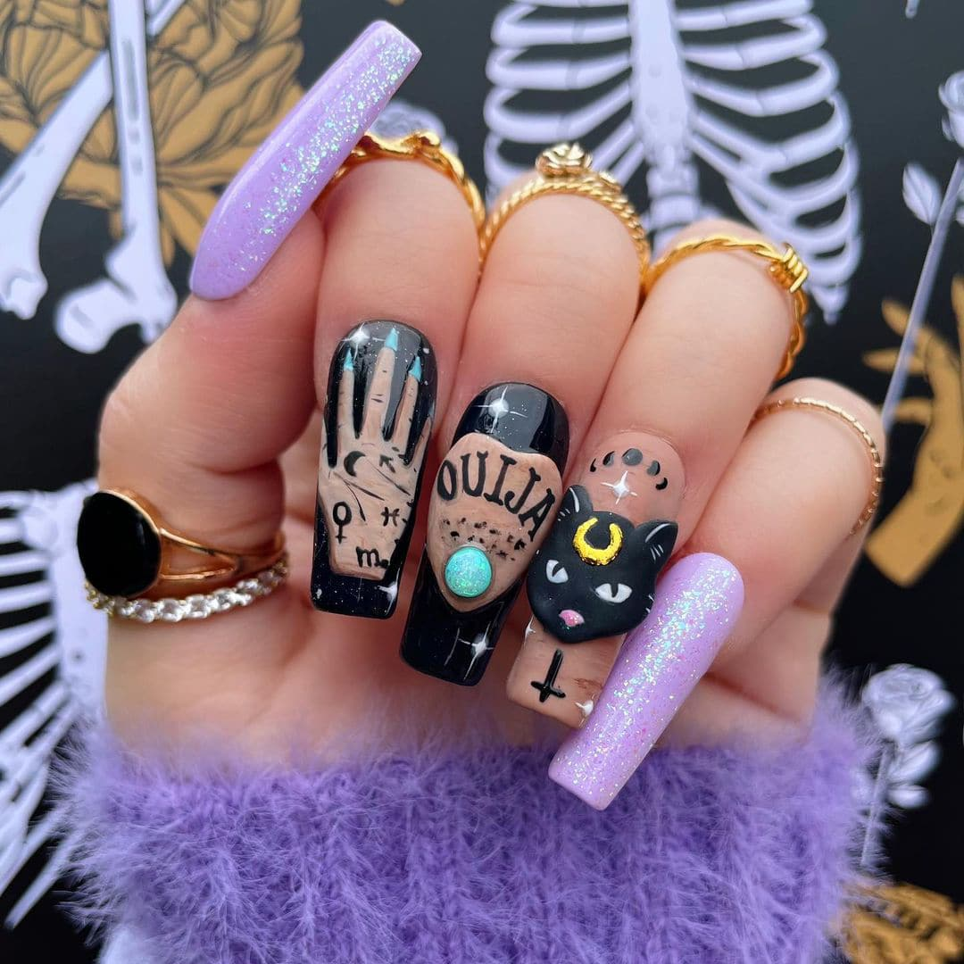 Long Halloween witch nails