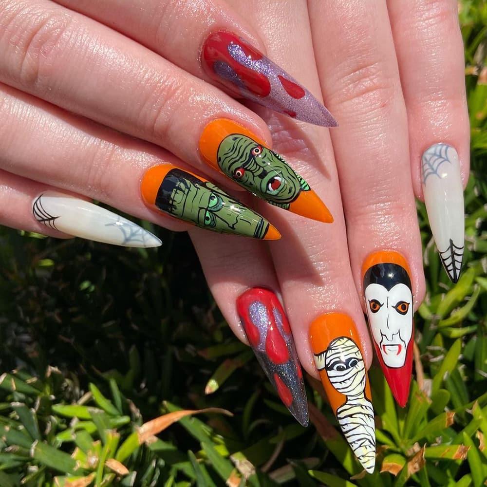 Mixed Halloween character long nails