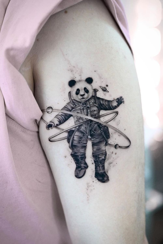 Panda Astronaut Tattoo