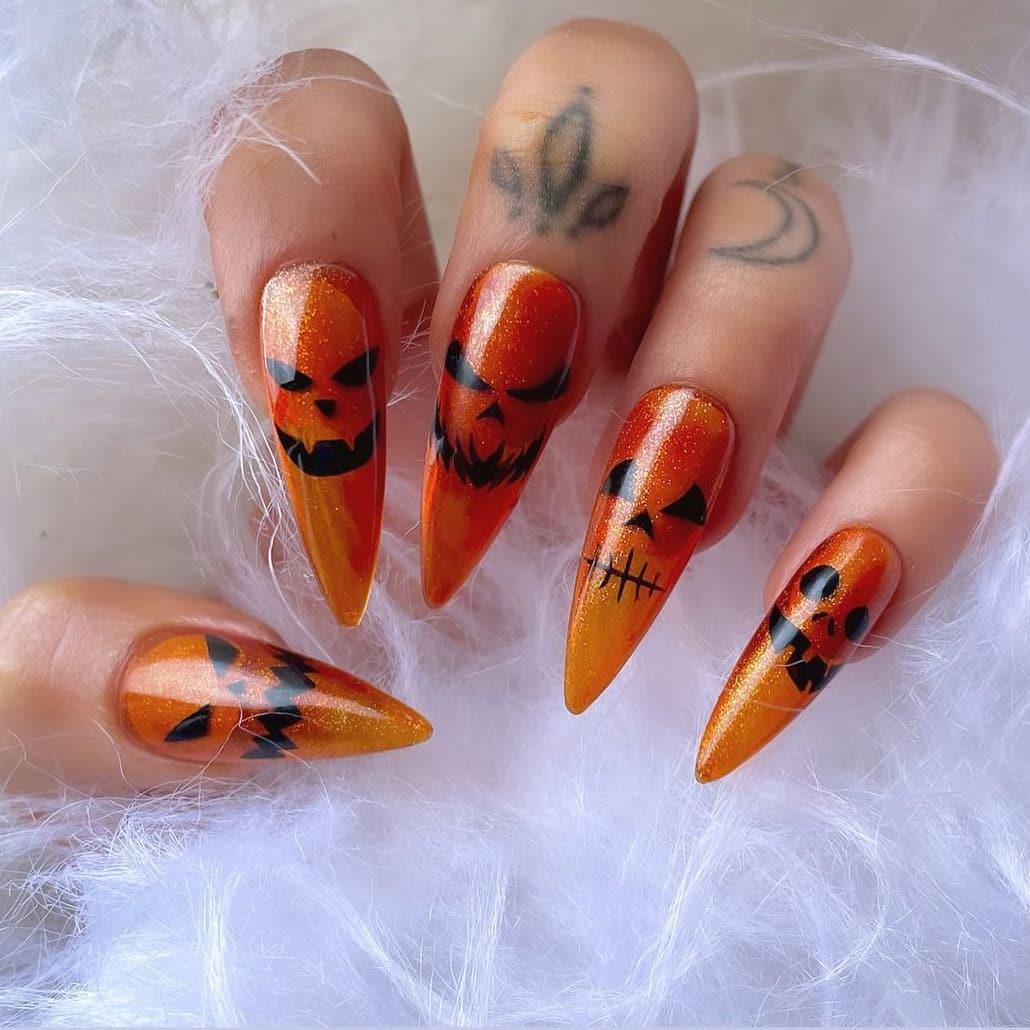 Pumpkin theme Halloween long orange nails
