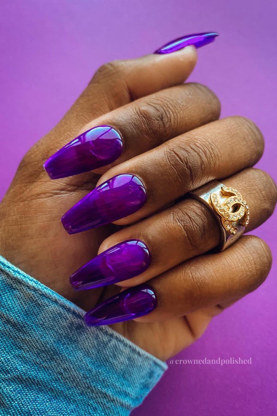 Purple jelly nails