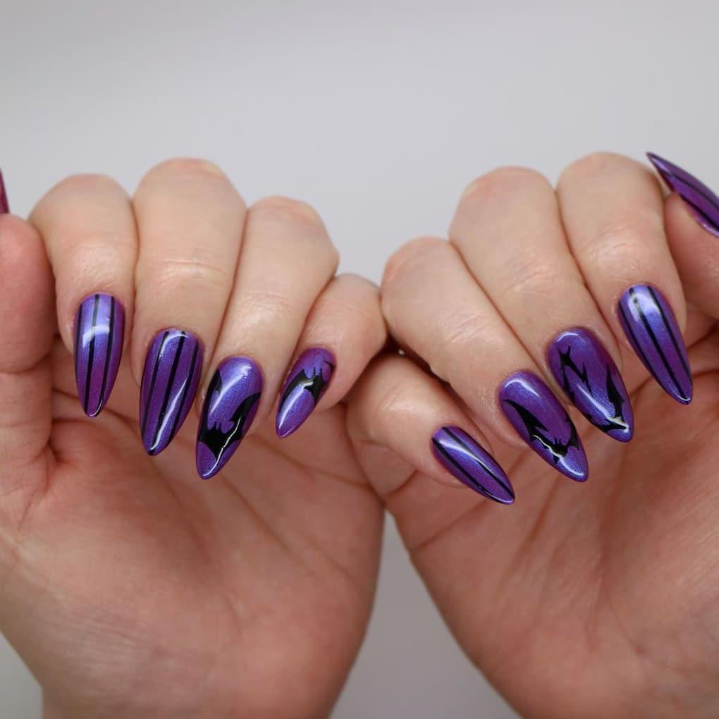Purple simple long Halloween nails