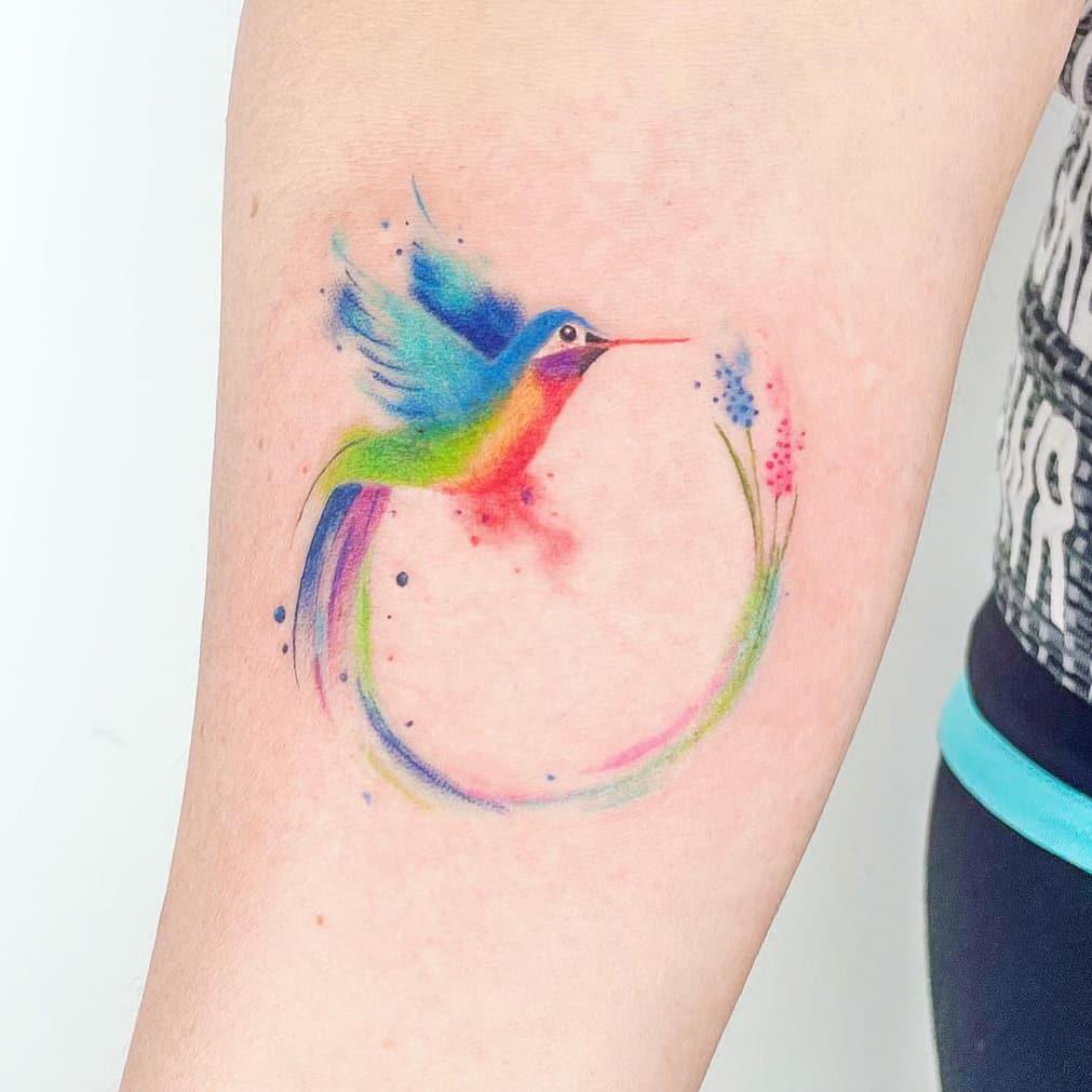 Rainbow Bird Tattoo