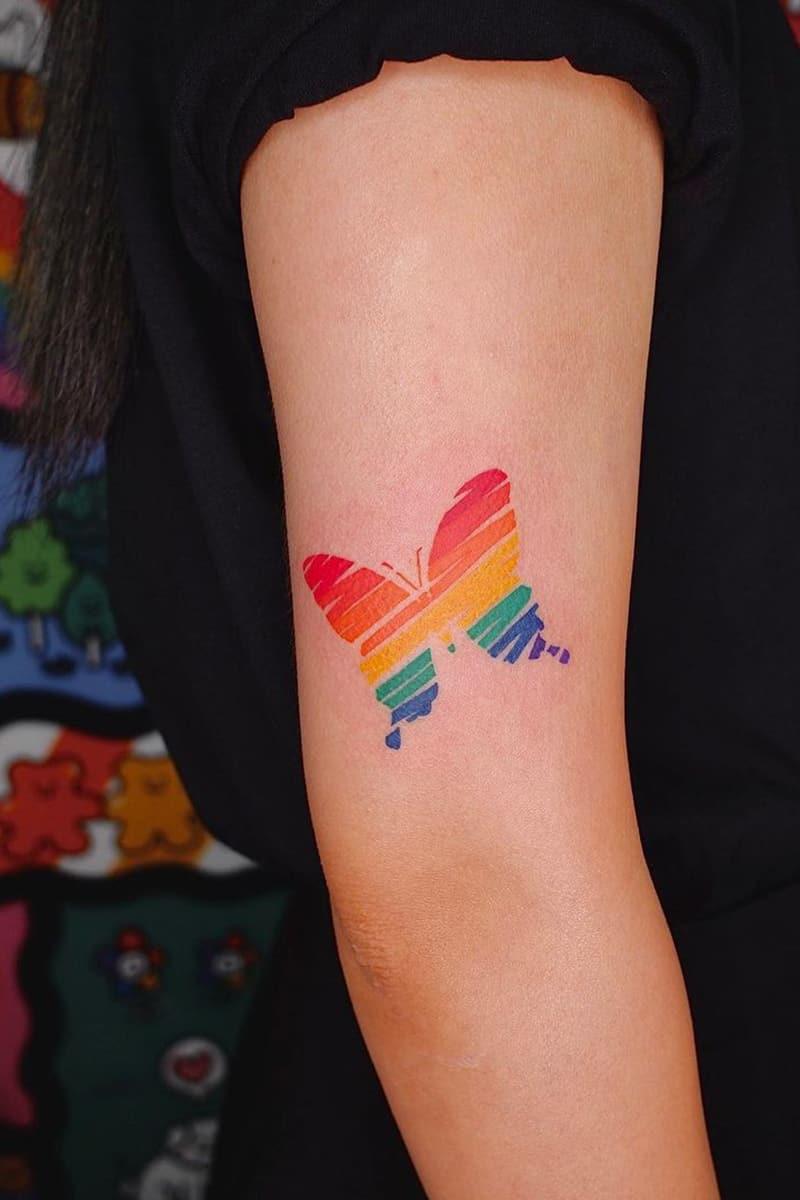 Rainbow Butterfly Tattoo