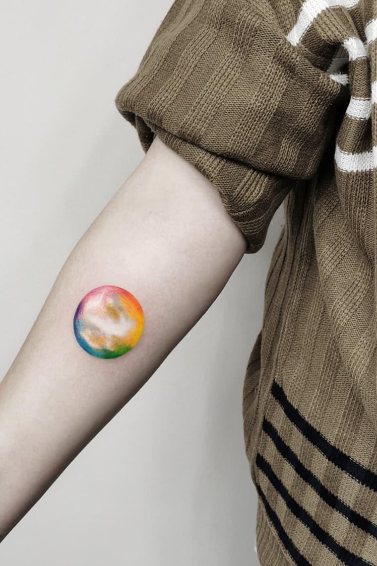 Rainbow Earth Tattoo