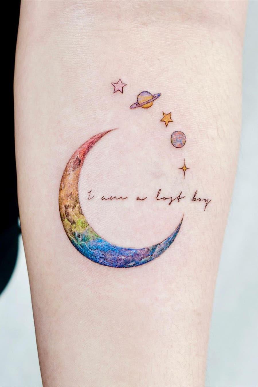 Rainbow Moon Tattoo