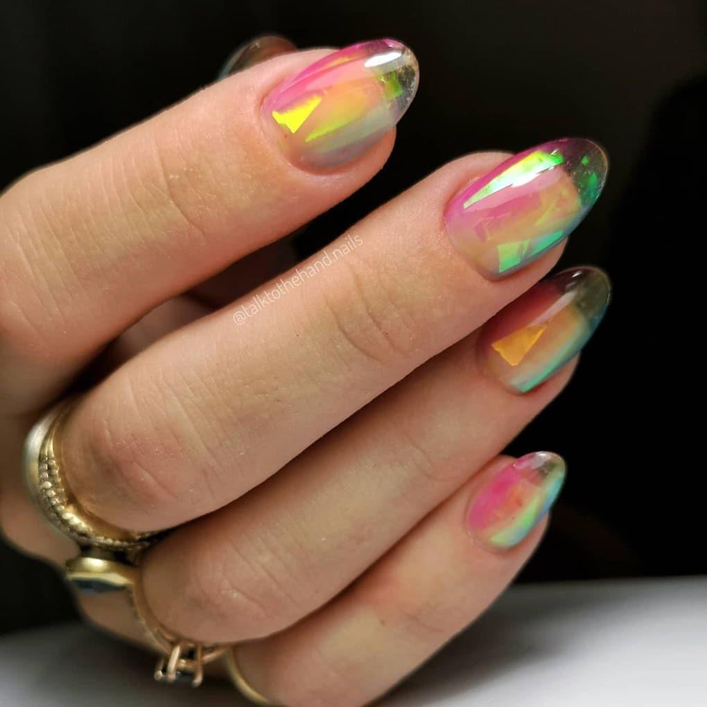 Rainbow jelly nails
