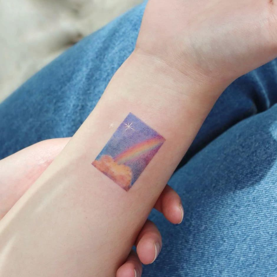 Rainbow landscape tattoo