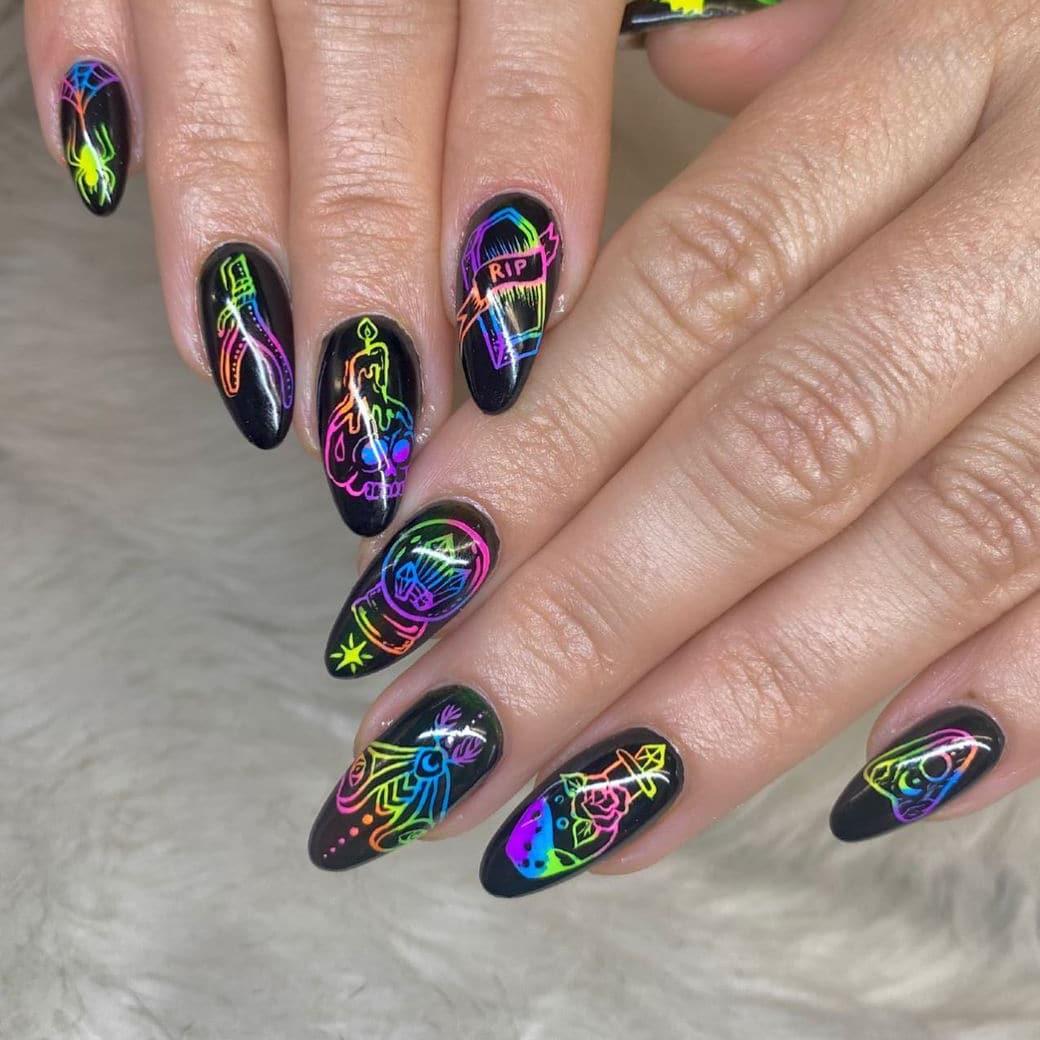 Rainbow long Halloween nails
