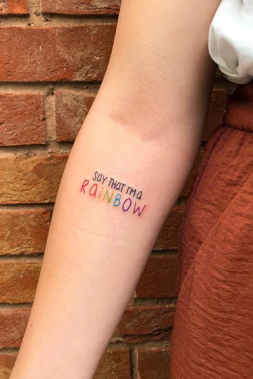 Rainbow quote tattoo