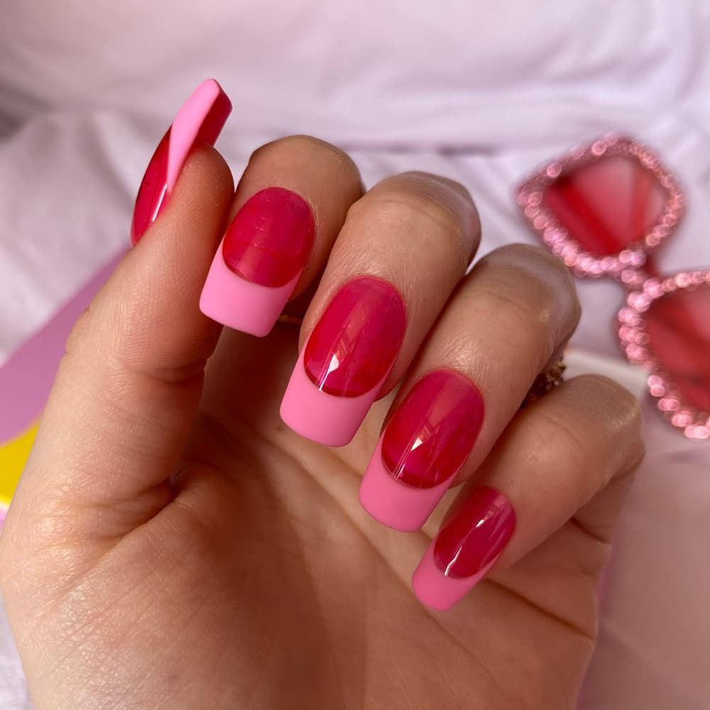 Red and pink jelly nails