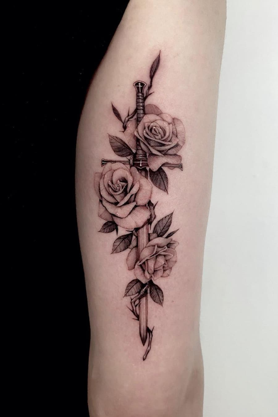 Rose sword tattoo