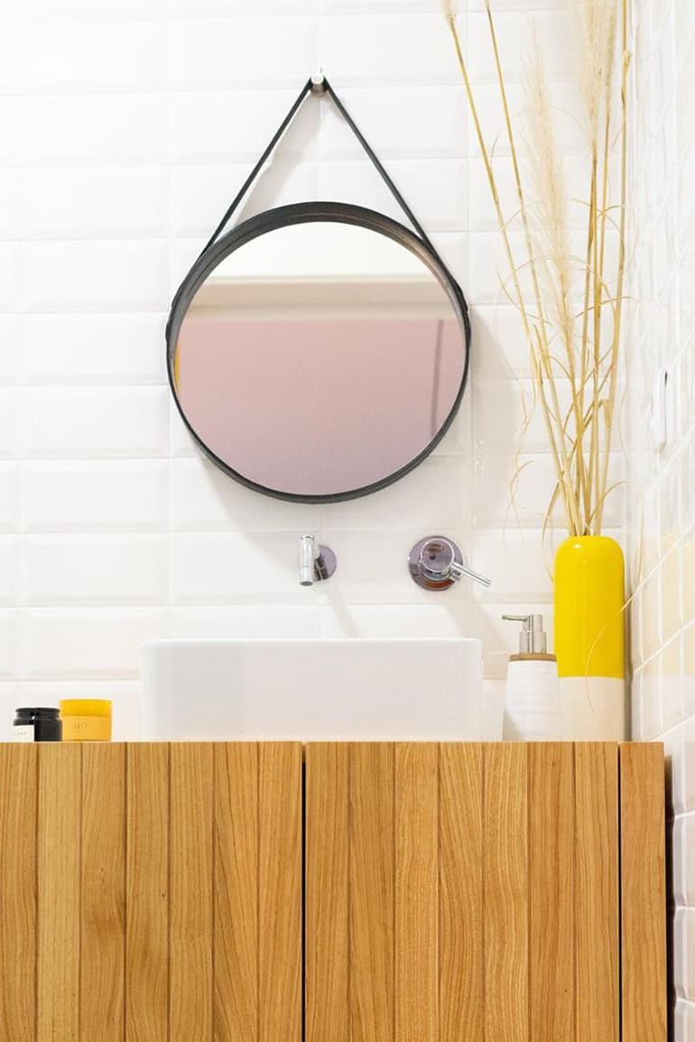 Small bathroom with bright yellow
