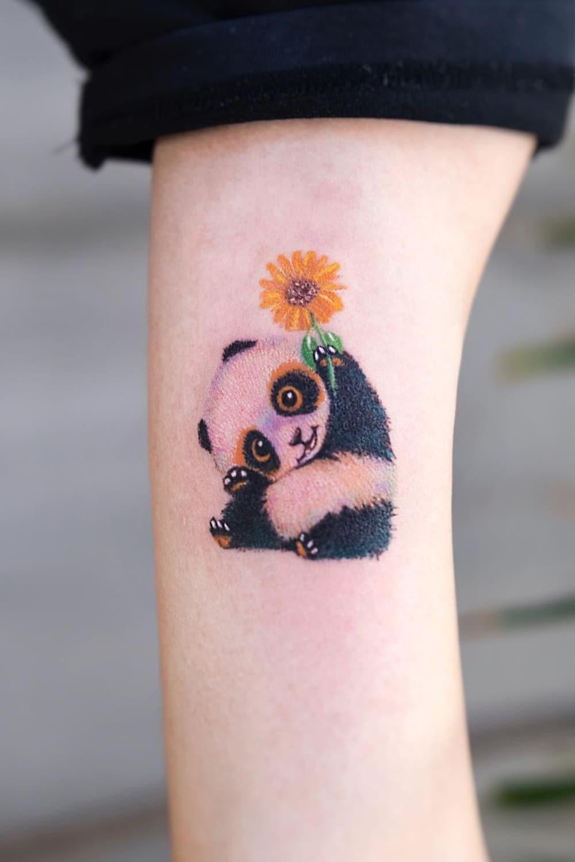 Sunflower and Panda Tattoo