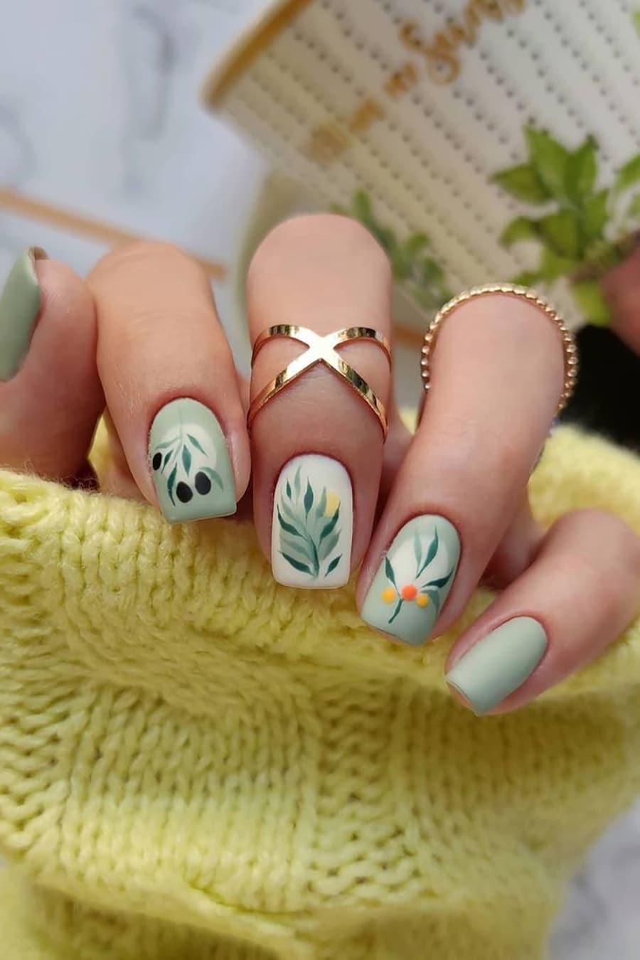 Boho olive green nails