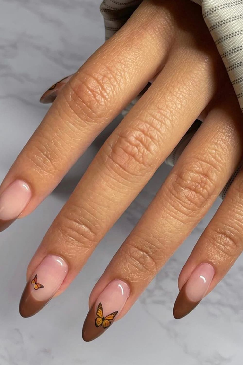 Brown almond nails