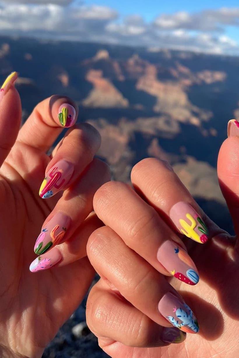 Cactus boho almond nails