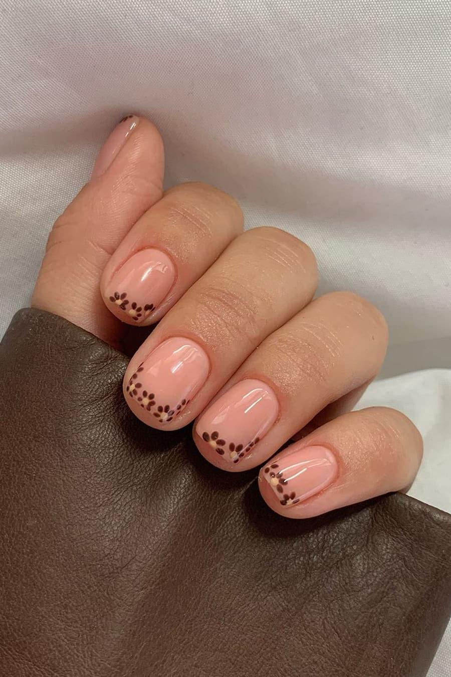Cute short brown nails