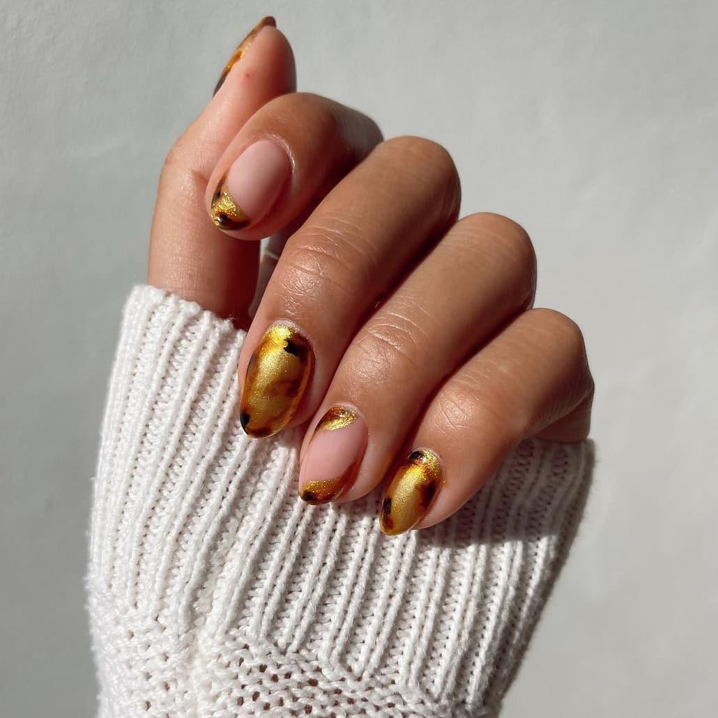 Golden brown nails