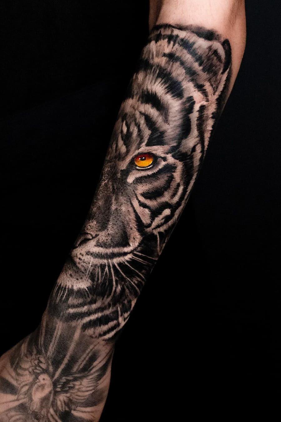 Half sleeve tiger tattoo