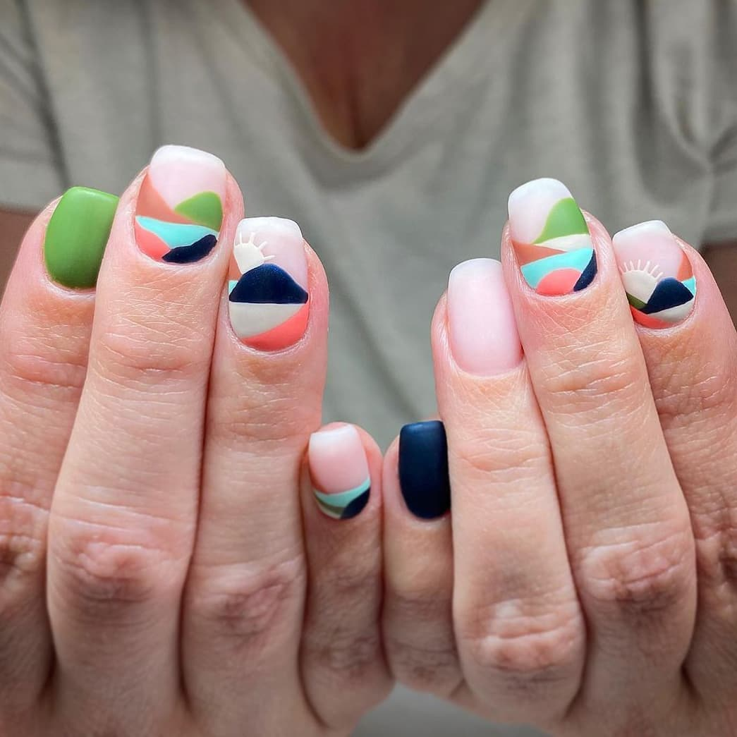 Landscape boho nails