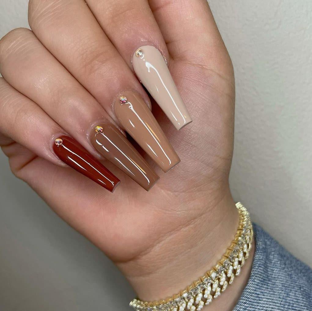 Long brown acrylic nails