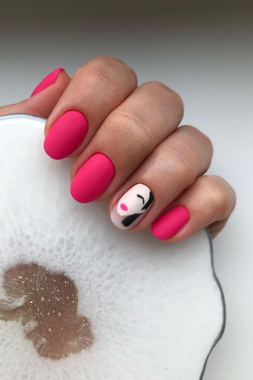 Matte pink boho nails