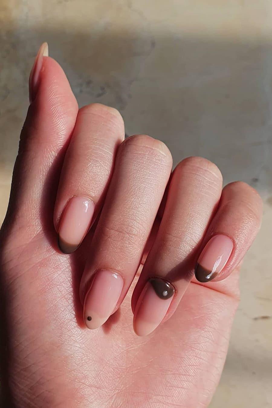 Minimalist yin and yang brown nails
