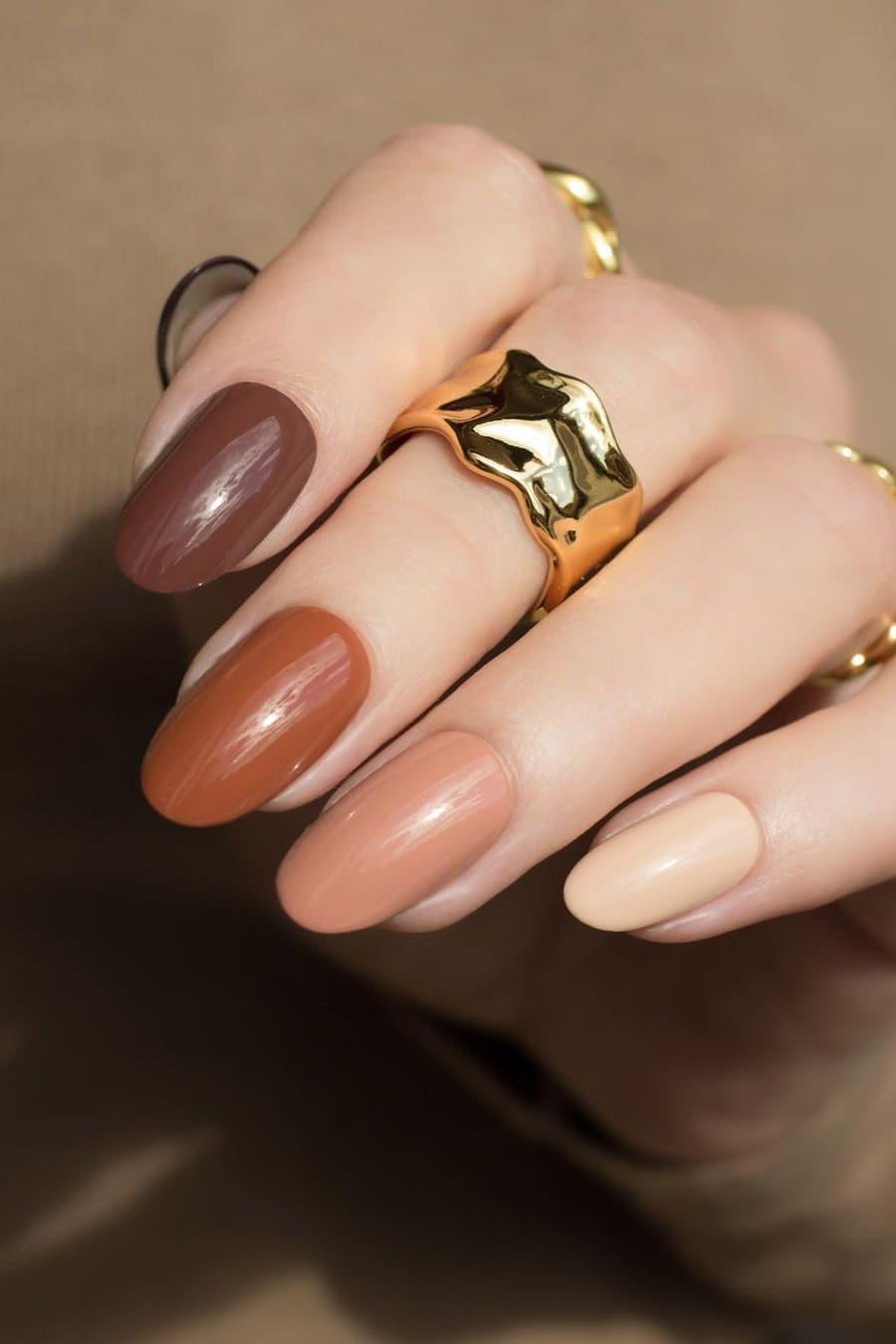 Mixed brown nails