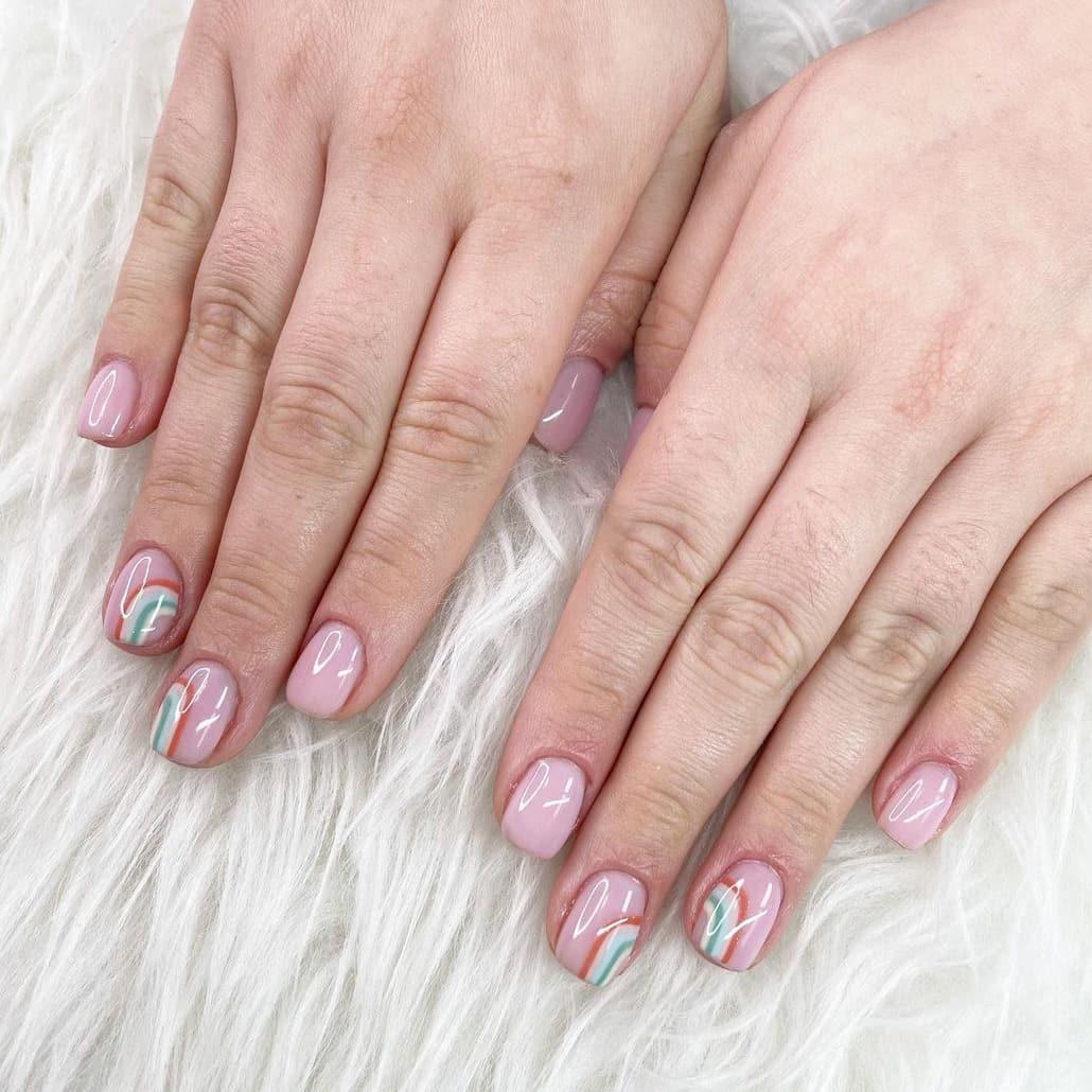 Rainbow boho short nails