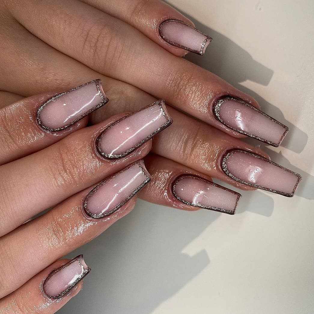 Rose gold and brown nails