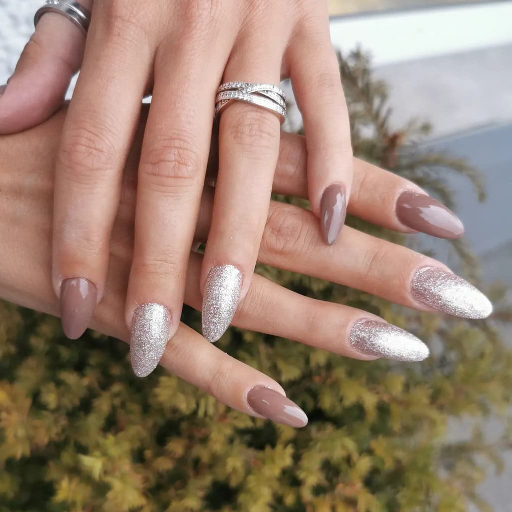 Silver and brown nails