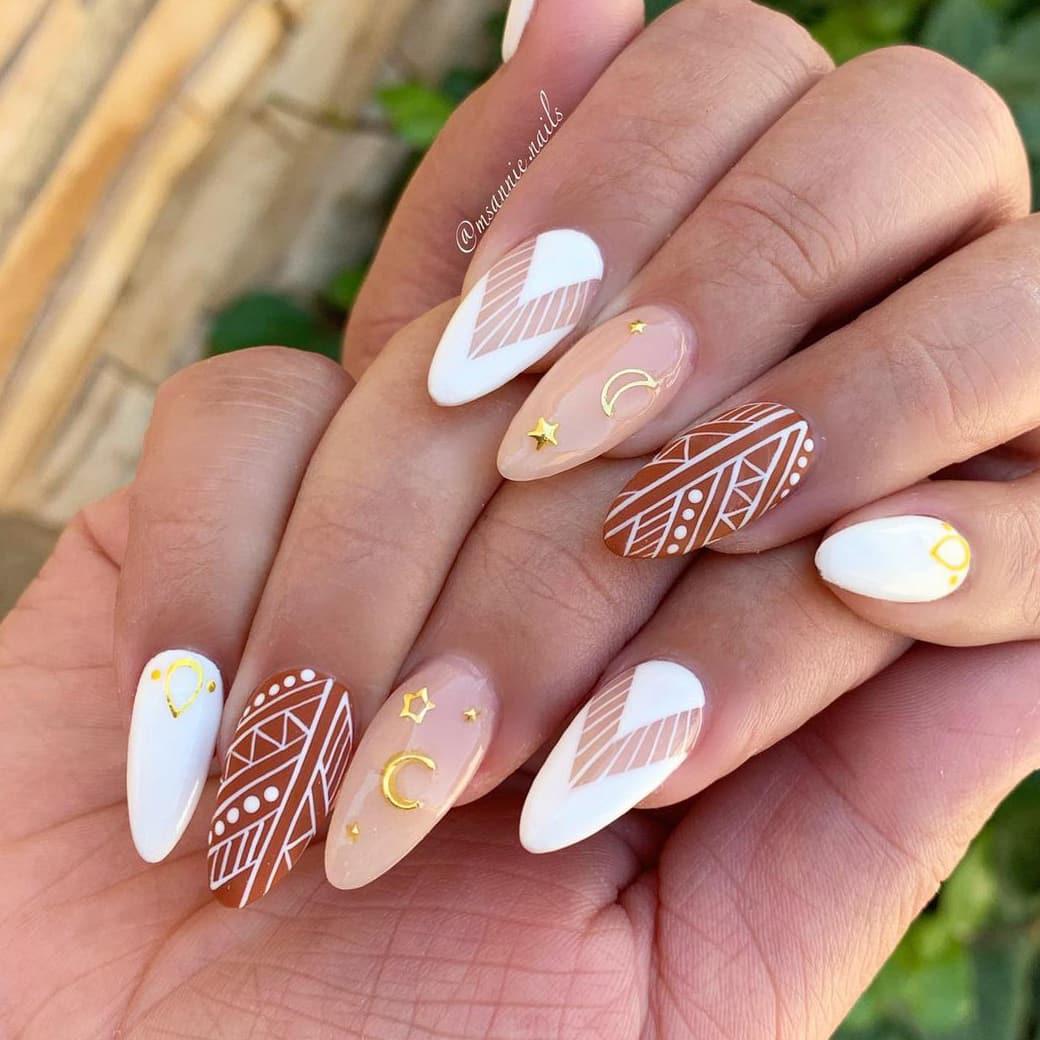 Star and moon boho nails