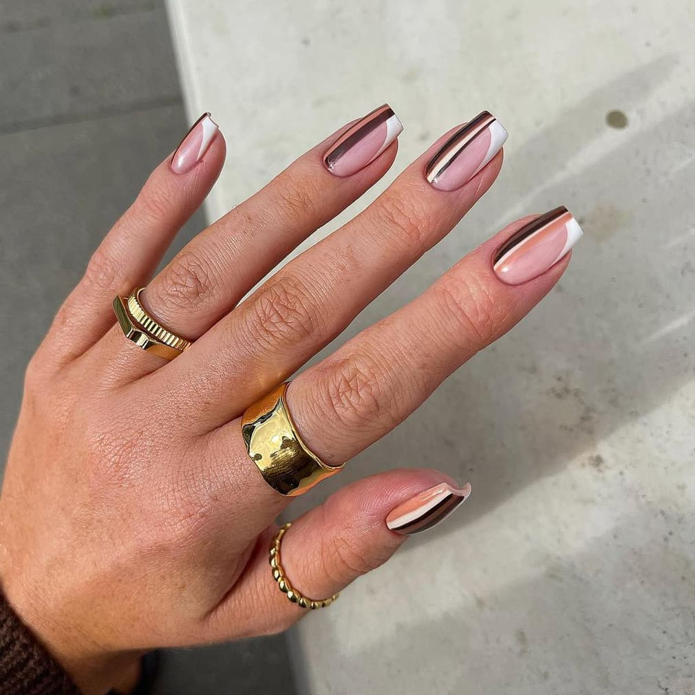 Striped brown nails