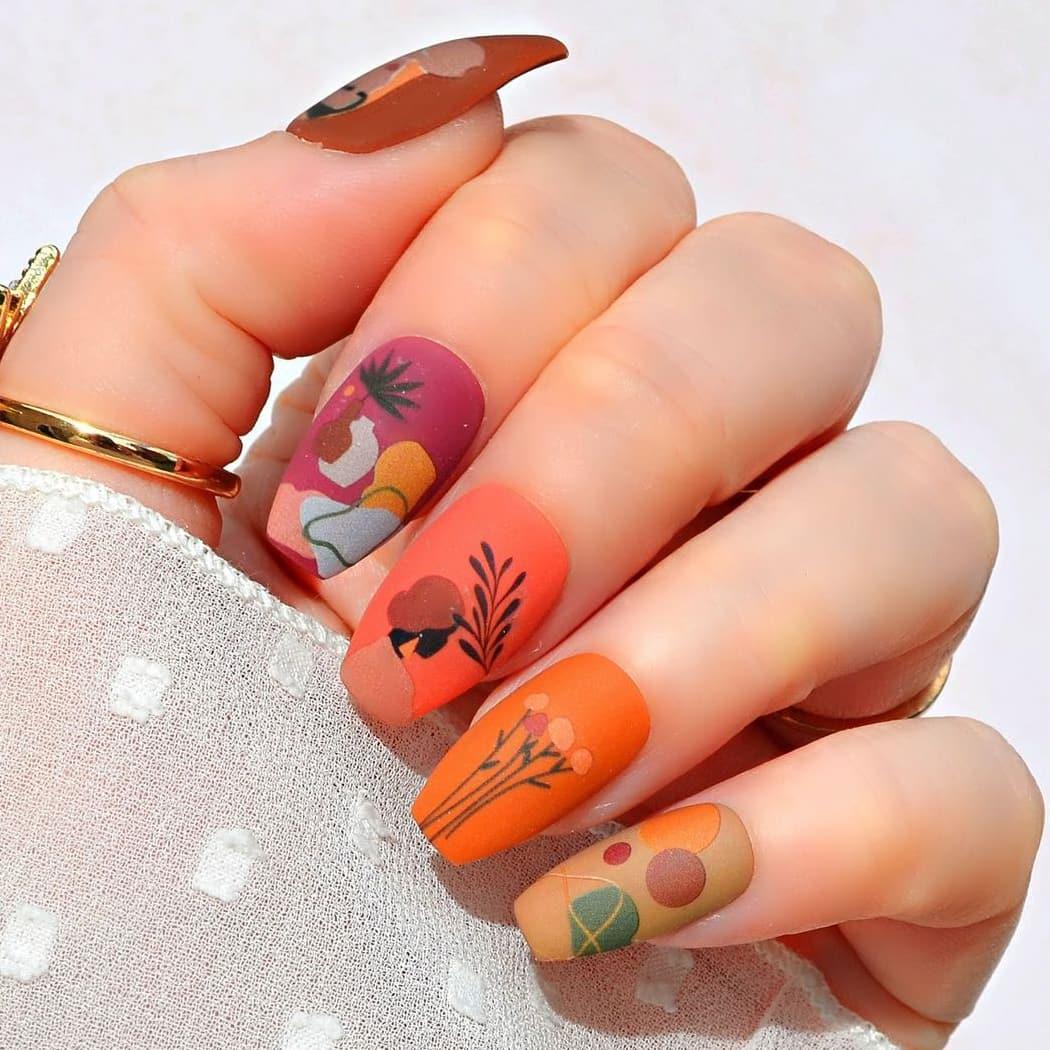 Terracotta boho nails