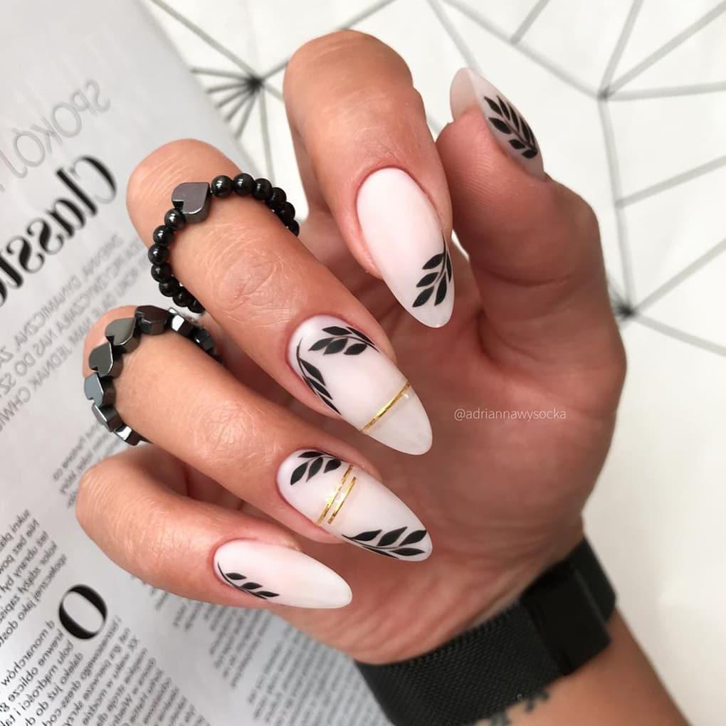 White, black and gold boho nails
