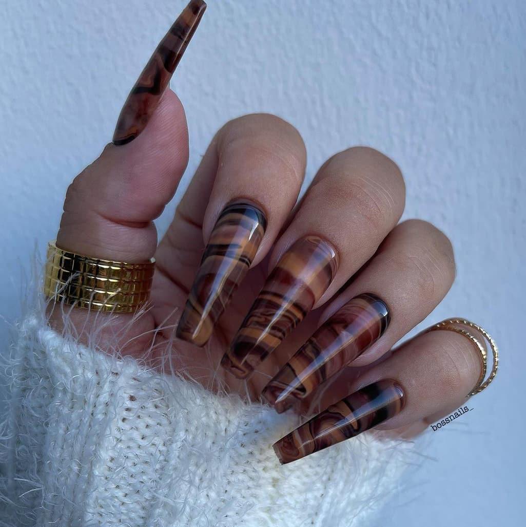Wood brown nails