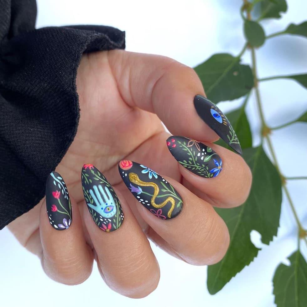 boho black nails